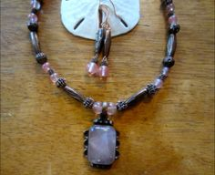 Rose Quartz Necklace and Earring Set