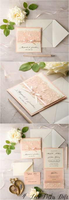 Vintage peach lace wedding invitations