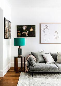 Moroso 'Sister Ray' sofa, Hub Furniture. Vintage Italian lamp base. Pale grey cushion and throw, Busatti.