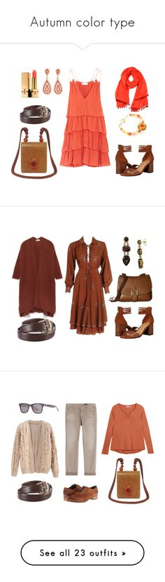 """Autumn color type"" by sollis ❤ liked on Polyvore featuring Apiece Apart, Chinese Laundry, Kenneth Jay Lane, John Hardy, Shop Latitude Bazaar, Yves Saint Laurent, Ted Lapidus, American Vintage, Sam Edelman and Sorrelli"