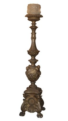 """DESCRIPTION: Large wooden bougeoir magnificently hand carved and decorated along the base and stem. Cherubs, floral banners and vines adorn the bottom and top finished with animalistic feet.  CIRCA: Late 19th to early 20th Ct  ORIGIN: France DIMENSIONS: H: 70"""" L: 12"""" CONDITION:Great Condition. Further condition reports available upon request."""