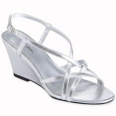 Jacqueline Ferrar® Wanda Wedge Sandals Silver ($24) found on Polyvore  mom shoes