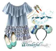 """""""Disney Inspired Outfits: Wendy Darling"""" by morganautical ❤ liked on Polyvore featuring York Wallcoverings, Vicky Davies, Caroline Constas, Chicnova Fashion, Emi Jewellery, Ollio, peterpan, disneybound, DisneyWorld and WendyDarling"""