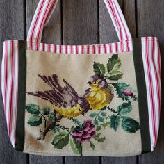 Love birds needlepoint everyday tote bag - upcycled rescued hand stitched tapestry - fully lined with side pocket Tapestry Kits, Tapestry Bag, Pretty Hands, Needlepoint Kits, Printed Linen, Upcycled Vintage, Vintage Prints, Linen Fabric, Hand Stitching