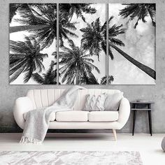 Items similar to Whimsical Houses Trees Colorful Folk Art Giclee Print on Etsy Palm Tree Decorations, Tree Wall Decor, Palm Tree Art, Palm Trees, Nursery Canvas, Wall Canvas, Marble Art, Abstract Canvas Art, Illustrations