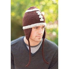 Mary Maxim - Football Hat - Cheer on your favorite team and stay warm at the same time with this cute hat. Exclusively for Mary Maxim from Your Knitting Life Magazine. Includes Red Heart Super Saver yarn.