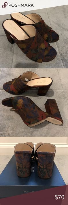 """Cole Haan Gabby Sandals Floral Print Suede Sandals, these shoes are so comfortable to walk on. Beautiful patterns on suede. 3.5"""" suede wrapped heels. Brand New in Box. Cole Haan Shoes Mules & Clogs"""