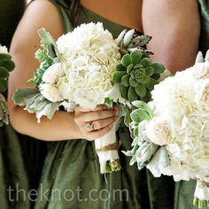 White and Green Bridesmaid Bouquets with Earthy Looking Succulents