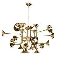 Botti Art Deco Vintage Brass Chandelier | DelightFULL