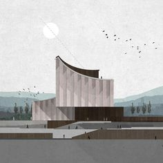 architecture rendering 10 Drawings by Zean Macfarlane Bringing Architecture to Life - Architizer Journal Perspective Architecture, Texture Architecture, Collage Architecture, Architecture Design Concept, Plans Architecture, Minimal Architecture, Architecture Graphics, Architecture Visualization, Architecture Drawings