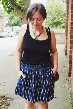 Ikat Everyday Skirt - What Katie Sews. From backstitch patterns