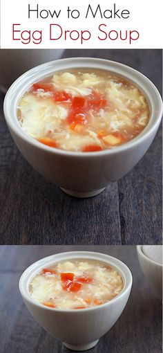 {China} How to make Egg Drop Soup - super easy recipe calls for only 3 key ingredients: broth, eggs, tomatoes. Get the recipe | rasamalaysia.com (Kitchen Ingredients Eggs)