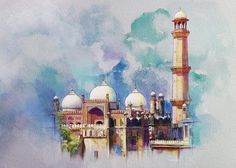 Pakistan Painting - Badshahi Mosque by Catf Watercolor Architecture, Art And Architecture, Mosque Architecture, Islamic Art Pattern, Pattern Art, Mosque Silhouette, Arabian Art, Islamic Paintings, Islamic Art Calligraphy
