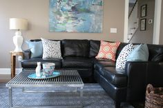 Rug, painting, pillows - Ideas for brightening our living room - similar couch!