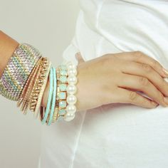 Pastel Arm party #bracelets #gold #mint #pastel