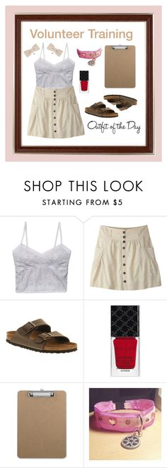 """""""Outfit of the Day #5: Volunteer Training"""" by anthropolyvist on Polyvore featuring The Letter, Mountain Khakis, Birkenstock, Gucci, Petit Bateau, Republic of Pigtails, ootd and khaki"""
