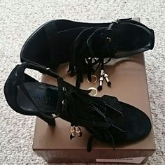 Black suede tassel fringe strap gucci heels Black suede tassel gucci heels Size 7b, 4.25 inches heels Only wore once Made italy With box and extra heel Gucci Shoes Sandals