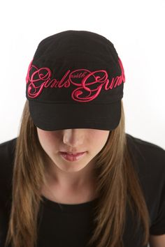 Girls with Guns Script Bucket hat in black and hot pink
