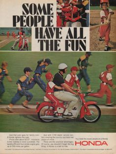 1966 Honda Scooter print ad Little League baseball by Vividiom, $9.00