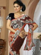 Navy blue and orange butterfly pallu saree: KSR2204