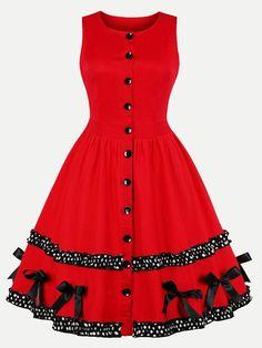 Vinfemass Retro Polka Dots Printed Bowknots Buttons Decor Plus Size Skater  Dress d7044a93cd09