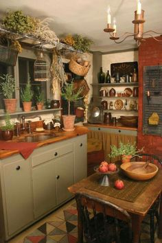 12 best ideas primitive country kitchen decor simple minimalist to apply as another theme option in doing a kitchen design. Primitive Homes, Primitive Decor, Country Primitive, Primitive Country Decorating, Rustic Decor, Primitive Painting, Primitive Quilts, Primitive Signs, French Country Kitchens