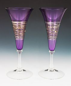 American Crafts by Robbie Dein presents the Silverspun Purple Flutes from American Artist Romeo Glass. Shades Of Purple, Deep Purple, All Things Purple, Purple Stuff, Purple Glass, Champagne Flutes, American Crafts, Colored Glass, My Favorite Color
