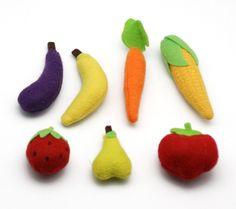 Verduras y hortalizas de fieltro.Idea para cortina de cocina