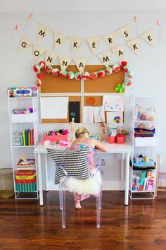 Craft Storage For Kids Kids craft area Girls Bedroom, Bedroom Desk, Rock My Style, Style Uk, Deco Kids, Crafty Kids, Diy Crafts For Kids, Playroom, Kids Room