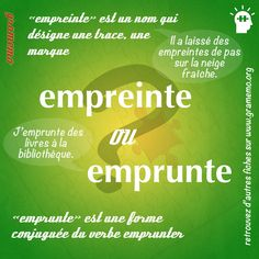 039 Empreinte ou Emprunte French Teacher, French Class, French Lessons, Teaching French, How To Teach Grammar, Teaching Grammar, Teaching Tips, French Verbs, French Grammar