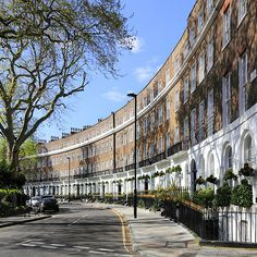 The picture-perfect terraced row - of mostly hotels and guest houses - on Cartwright Gardens, London.
