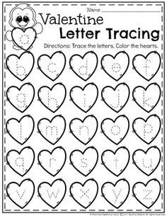 Valentine Letter Tracing Worksheets for Preschool #tracing #preschoolworksheets #valentinesday