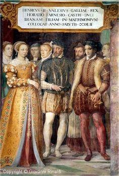 Diane de France, Henri II et Horace Farnèse dans une fresque du château de…
