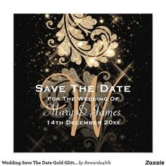 """Wedding Save The Date Gold Glitter Floral Swirl Card Elegant wedding """"Save The Date"""" design with romantic Gold Glitter Floral Swirl effect night starry sky on Silver background, and custom names, date text, and decorative monogram. Impress your family and friends with this stylish and modern design. Fully customizable! Easy to use and easy to personalize. Order Today!"""