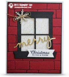 Tami White video - how to make window in brick wall christmas card ——— STAMPIN UP S U P P L I E S ——— • To You & Yours Too Photopolymer Stamp Set #139819 • Cherry Cobbler 8-1/2X11 Card Stock #119685 • Whisper White 8-1/2X11 Card Stock #100730 • Basic Black 8-1/2X11 Card Stock #121045 • Basic Black Archival Stampin' Pad #140931 • Basic Black Stampin' Write Marker #100082 • Winter Wonderland Designer Vellum Stack #139594 • Gold Foil Sheets #132622 • Gold Cording Trim #1396118 • Snowflake