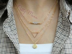 Set of 3 Layered Necklaces, Gold Layered Necklaces Set, Personalized Disk Necklaces, Beaded Necklace, Triangle pendant , NTOP33
