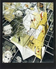 """Archigram   Drive in Housing, a """"Highly elaborated ongoing speculative exploration of the possible use of cars as mobile and serviced component parts of an adaptable dwelling system composed of cars, drive-in buildings and services."""""""