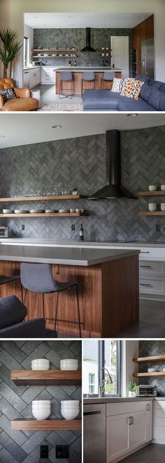 In this modern kitchen, grey tiles in a herringbone pattern cover the wall, while floating wood shelves compliment the wood island. #ModernKitchen #KitchenDesign #InteriorDesign #GreyTiles #HerringbonePattern #FloatingShelves