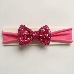 Hot pink sequin bow baby headband | toddler headband | soft jersey headband by littlechancesdesigns on Etsy https://www.etsy.com/listing/514819897/hot-pink-sequin-bow-baby-headband
