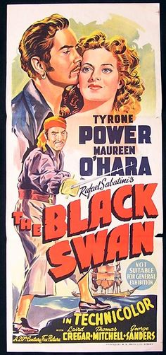 Australian daybills | THE BLACK SWAN '42 Tyrone Power RARE ORIGINAL poster, 1942