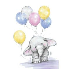 New Wild Rose Studio Clear rubber stamp Bella w Balloons Birthday gift Elephant Elephant Love, Elephant Art, Cute Elephant Drawing, Baby Elephant Images, Cute Drawings, Animal Drawings, Baby Motiv, Tatty Teddy, Baby Art