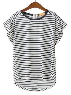 Black White Striped Short Sleeve Loose T-Shirt US$19.25