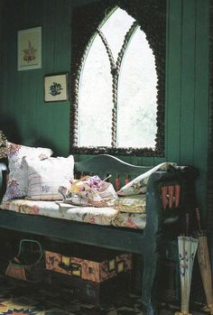 Make Gothic-looking arch window without having to remove the old rectangular one by forming the arch right over the rectangular glass!