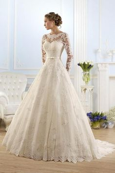 New Arrival Fashionable Scoop Long Sleeve Wedding Dresses Appliques Lace… More