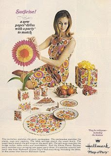 """Many companies capitalized on the success of the paper dress and started to manufacture their own. Hallmark introduced their version of the paper dress as """"hostess dresses"""" meant to match the party napkins and tablecloths. Retro Advertising, Retro Ads, Vintage Advertisements, Vintage Ads, Vintage Posters, Vintage Makeup Ads, Retro Food, Vintage Ephemera, Vintage Beauty"""