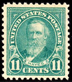 Hayes 1922 Issue2-11c. -An 11c Postage stamp was issued on the 100th anniversary of Hayes' birth, October 4, 1922, in Washington, D.C., and in Hayes' hometown, Fremont, Ohio and was the first stamp issued in the Regular Issues of 1922-1931. The stamp was designed by Clair Aubrey Houston. The engraving of Hayes is modeled after a photograph taken by prominent Civil War photographer Mathew Brady. John Eissler engraved the die for the vignette