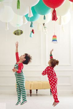 Floating Gifts: Have the kids literally jump for joy by hanging light from balloons on Christmas morning.