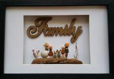 Family pebble art, rock family art, beach stone art by madebynatureandme on Etsy