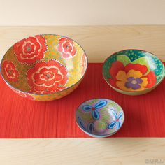 Floral papier-mache bowl set handmade by artisans in Haiti- http://www.serrv.org/product/floral-bowls-set/eco-gifts