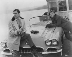 "George Maharis and Martin Milner in a publicity photo for ""Black November"", the premiere episode of Route 66   ///   met these guys and sat in the car - Concord, Ma."